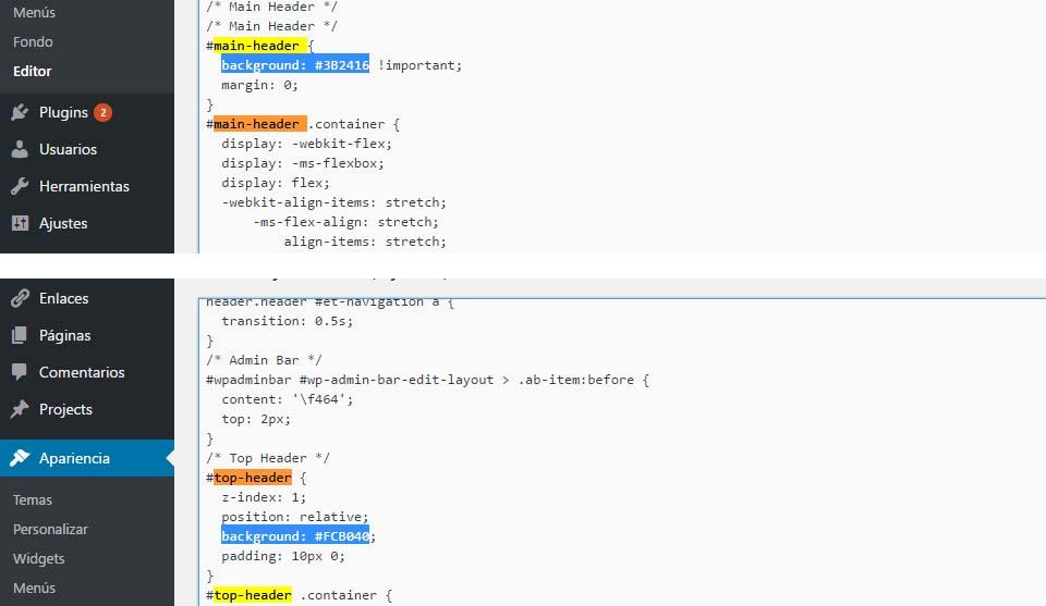 Imange del CSS para modificar el color del menú principal header de Extra Theme